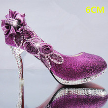 Purple Women Pumps Women Shoes Glitter Gorgeous Wedding Shoes 6CM Crystal Rred Bottom High Heels Womens Shoes Woman Bridal Shoes love moments purple crystal shoes woman wedding shoes bride platform gorgeous high heels ladies shoes bridal dress shoes