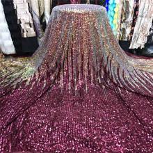 NUOVO Africano nappa Piuma Tessuto di Alta Qualità fatto a mano, Francese Del Voile Guipure paillettes perline Tessuto di Pizzo per abiti da sposa