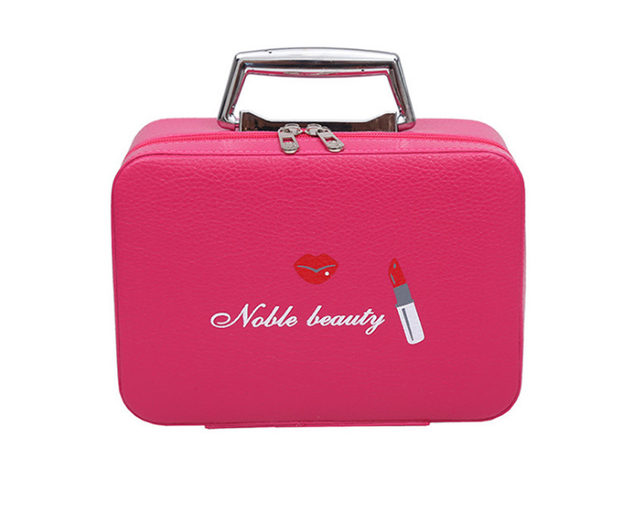 Top Handle Portable Woman Pu Leather Cosmetic Bag Multifunction Makeup Simple Large Capacity Toiletry