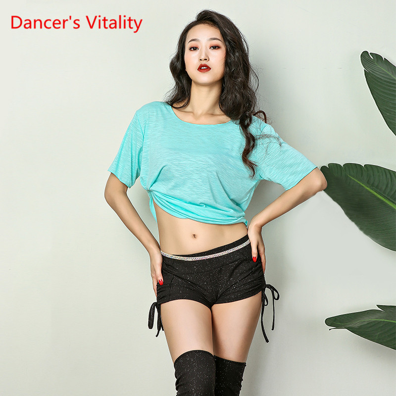 Sexy Round Neck Belly Dance Top Comfort Short Sleeves Dance Clothes Practice Belly Dance Costume For Women, 5 Colors