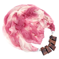2017 Vintage Bohemia Style Multi Color Polyester Women Crinkle Scarf Wooden Beads Pendant Scarves Accessories 3