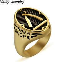 Anillo de decoración de barbería Valily para hombres anillo de cuchillo de barbero de oro de acero inoxidable banda de anillo de dedo Punk joyería de personalidad anillo