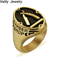Valily barber shop decor Ring For Men Gold knife Stainless Steel Punk Finger Band Personality Jewelry anillo