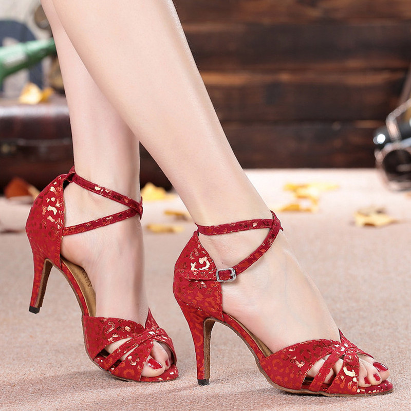 Hot sale lady indoor soft sole ballroom dancing shoes med heels summer sandals for womens tango salsa latin dance shoes 6427