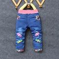 BibiCola джинсы Для Девочек Детские Длинные Брюки Вышивка Стрекозы и цветы Детские Брюки для весны Новорожденных Девочек Джинсы Брюки
