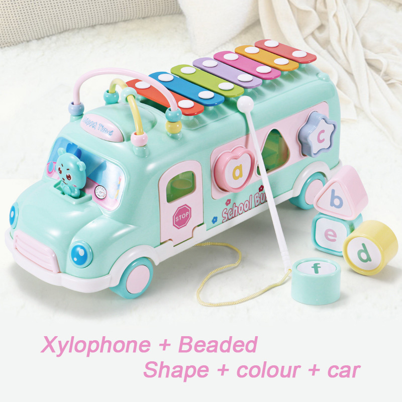 Bébé Bus frappe Instrument de musique jouets Xylophone jouets avec Puzzle battre forme frapper au Piano bébé musique jouets éducatifs cadeaux