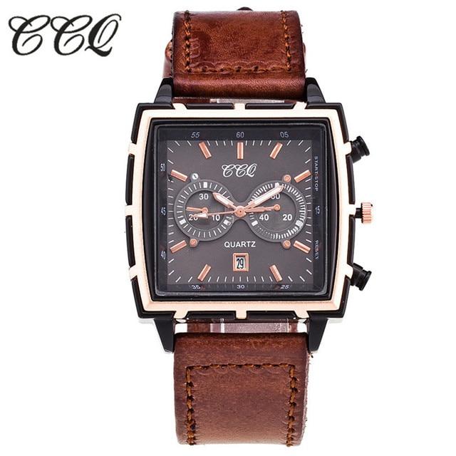 fd15c0bb554 CCQ Mens Relógios Top Marca de Luxo Relógio de Quartzo De Couro Dos Homens  Casual Esporte