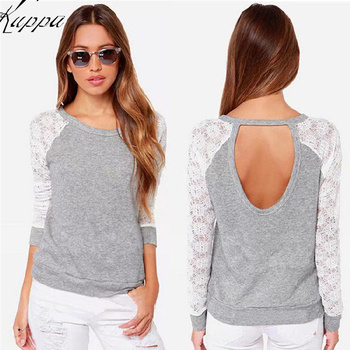Summer Autumn Nature Gray Color Women Lace Patchwork Long Sleeve Casual T-Shirts Girls Hoody Backless Sweatshirts Free Shipping headpiece