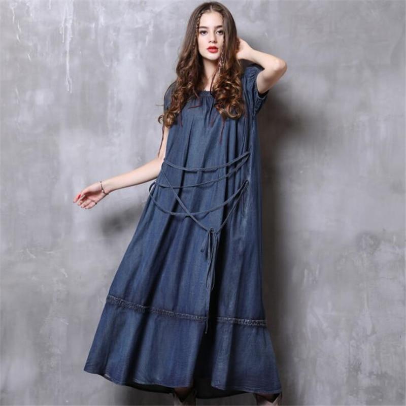 Donne Allentato Estate Altalena Vestido Vestito Delle Design Da 2019 Grande Corta Del Di Femminile Fasciatura Vintage Blue Denim Dalla Abiti Nuove Manica dw4HOqxwZ