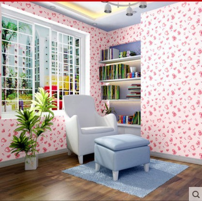 Peach PVC Sticky Wallpaper From Romantic Love The Sitting Room Bedroom Waterproof Lover Back