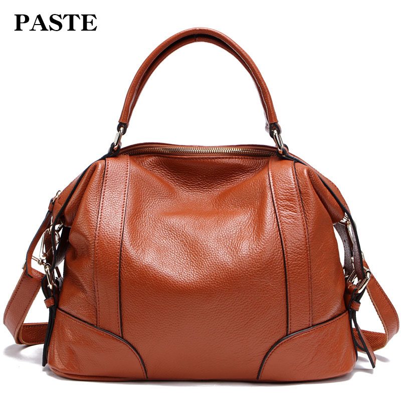 PASTE Women Handbag 100% Genuine Leather Tote Shoulder Bag Purses Handbags Casual Shopping Bag Satchel Capacity Messenger Bags women handbags pumping bucket bag shoulder messenger bag cow leather ladies purse casual shopping bags satchel capacity tote