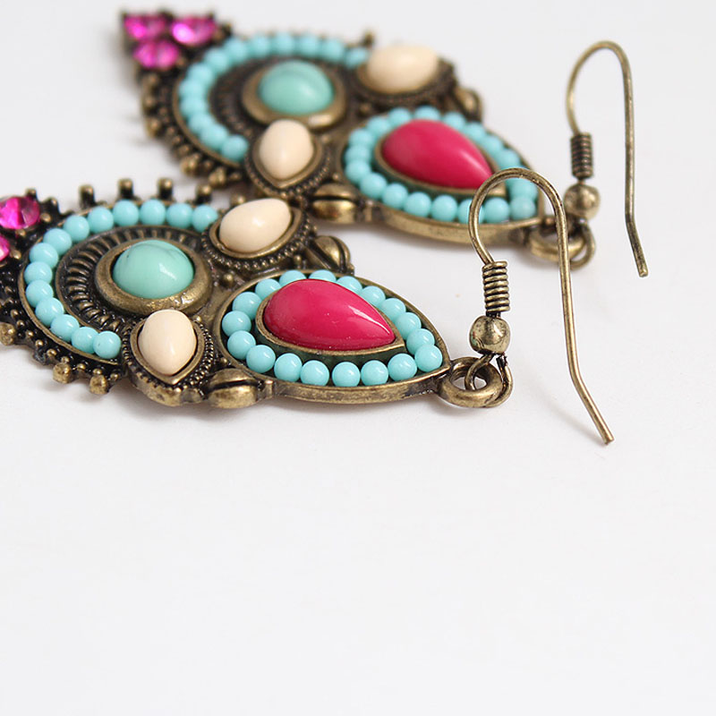 Antique Gold Indian Bridal Jhumki Bohemia Acrylic Beads Vintage Earrings Korean Fashion Wedding Engagement Party Club Jewelry in Drop Earrings from Jewelry Accessories