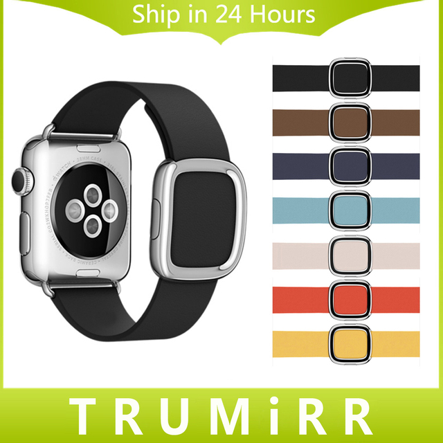 Genuine Leather Watchband for iWatch Apple Watch Sport Edition 38mm 42mm Modern Buckle Band Magnet Clasp Strap Bracelet 7 Colors