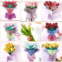 цена на Handmade Christmas Greeting Cards Treasure Bowl Rose Tree 3D Pop Up Greeting Card 1 Pc Set Hot Sle Free Shipping