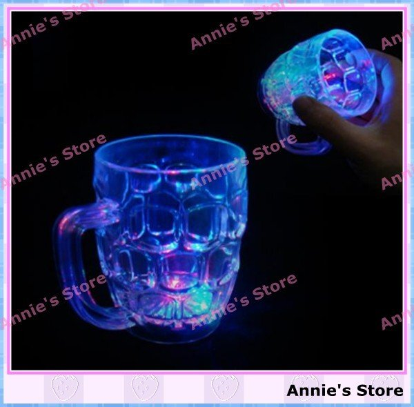 Wholesale LED BEER MUG, LED flashing beer <font><b>cup</b></font>, bottle, fancy <font><b>light</b></font> glass, color changing, <font><b>small</b></font> size