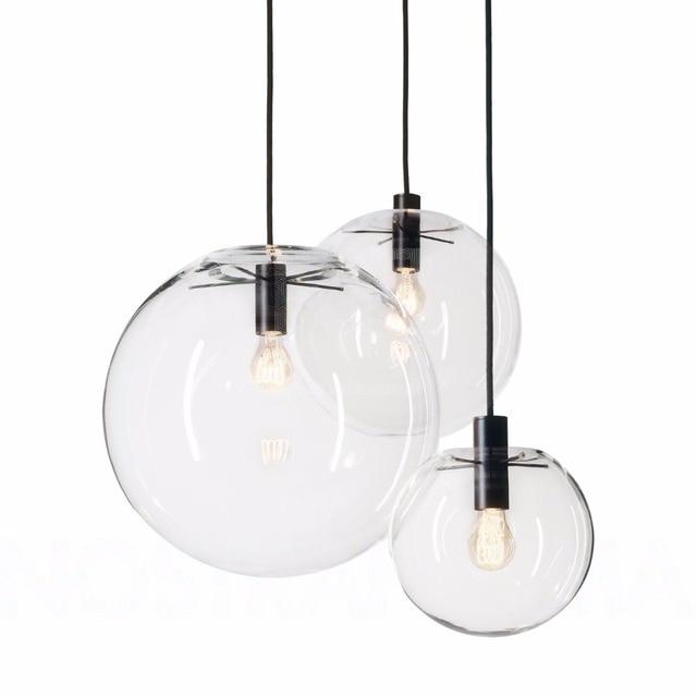 Modern Nordic Lustre Globe Pendant Lights Glass Ball Lamp shade ...