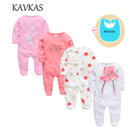 2019 4pcs Spring Baby Clothes Long Sleeve O Neck Cotton Baby Rompers Christmas Wear Roupa De Bebes Newborn Girls Boys Clothing