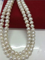 Free Shipping >>>>> double strands classic 10 11MM south sea whit pearl ne ecklace1819