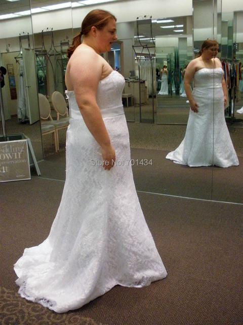 Buy real simple trumpet strapless plus for Real simple wedding dresses