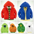 Sales!Free shipping baby clothes for 1-6years,Top Quality  jacket with cap,Kids sport coat,children sweater