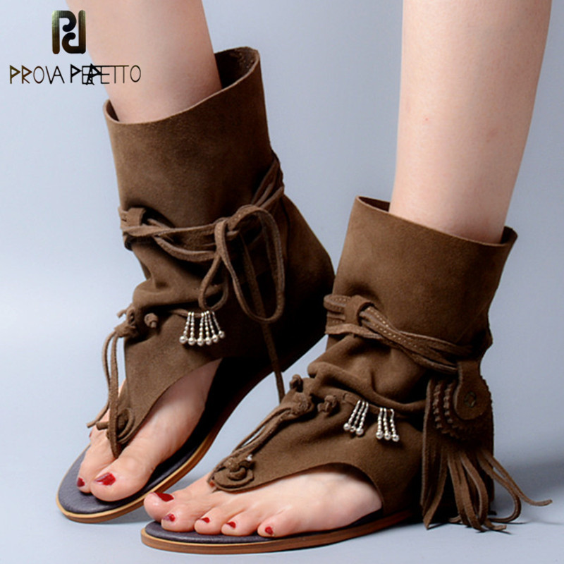 Prova Perfetto Bohemia Summer Women Sandal Ethnic Style Tassels Ladies Ankle Boots Sandal Shoe Rome Thong Gladiator Flat Sandals women flat pom pom decor flat sandal crystal butterfly knot summer shoe cutouts sandal mixed color fur gladiator sandal