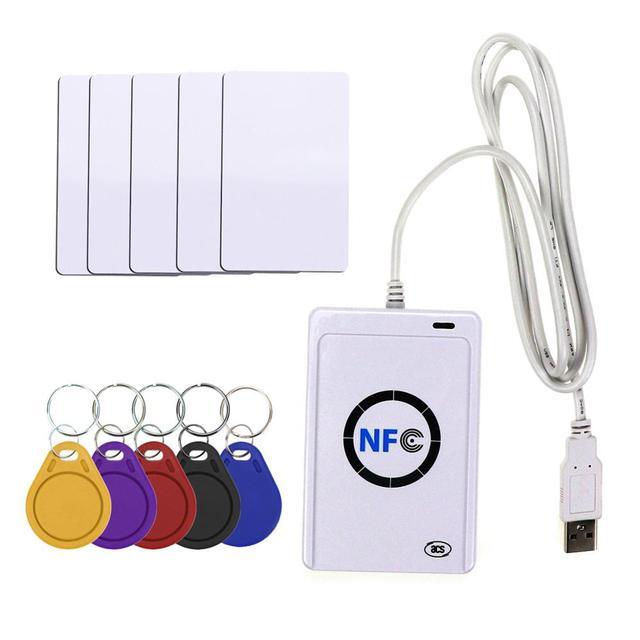 Lecteur de carte intelligent RFID, copieur, duplicateur de logiciel clone inscriptible, USB S50, 13.56mhz, ISO 14443 + étiquette UID 5 pièces, NFC ACR122U
