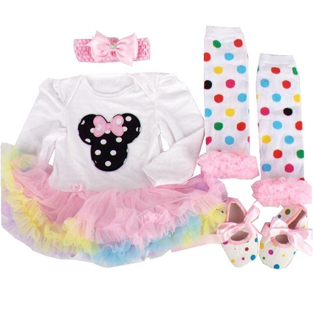 Minnie Manga Longa Conjuntos Tutu Menina Vestido de Festa Infantil Macacão de Renda Do Bebê Recém-nascido Sapatos Aquecedores Headband Ropa Bebe Presentes de Aniversário