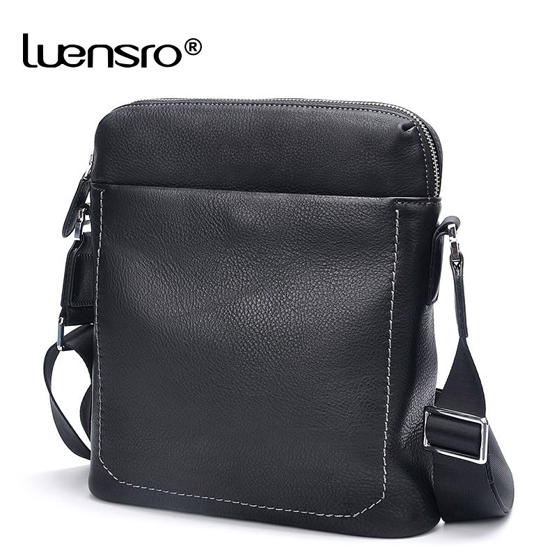 LIENSRO Fashion Business Men Genuine Leather Messenger Bags Promotional Small Crossbody Shoulder Bag Casual Man Bag Cow leather