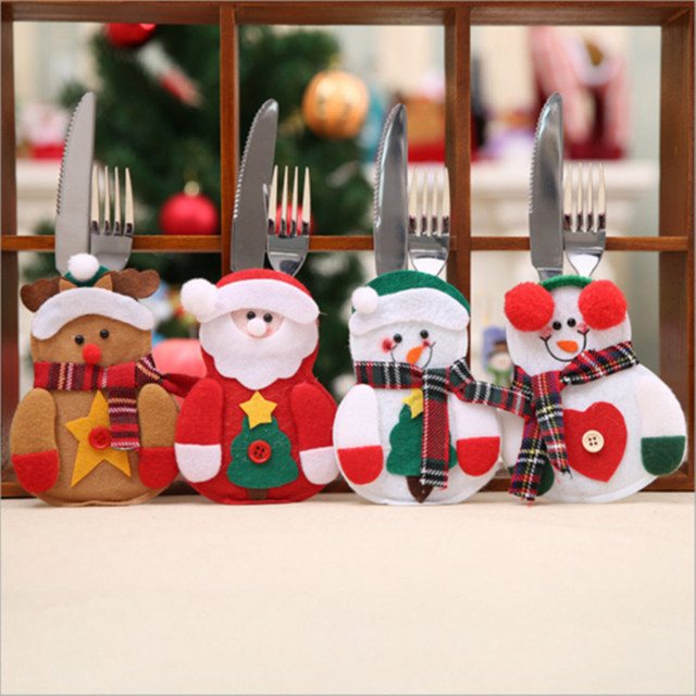 Us 1 99 1pcs Christmas Xmas Design Dinner Table Decoration Tableware Cutlery Holder Festive Xmas Party Diy Decorations In Party Diy Decorations From