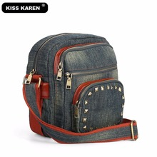 KISS KAREN Retro Fashion Studded Crossbody Bags for Women Durable Denim Women's Messenger Bag Summer Jeans Women Purse kiss karen floral lace women messenger bag vintage fashion studded denim bag women s shoulder bags summer jeans crossbody bags