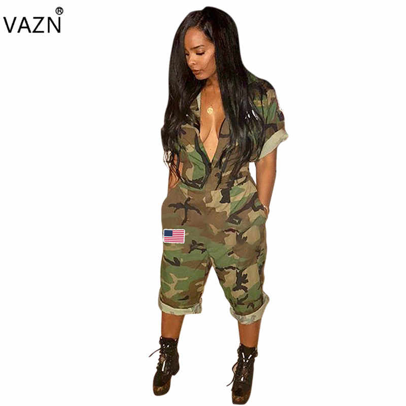 VAZN 2018 New Arrive Famous  Casual Women Jumpsuit Camouflage Turn-down Collar Short Sleeve Calf-Length Romper Y074