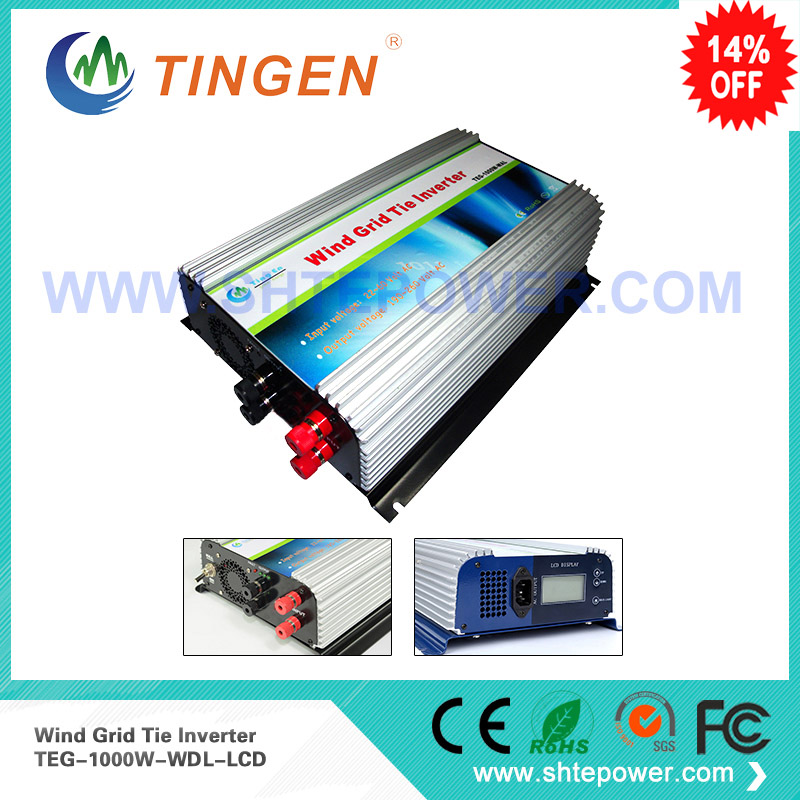 Grid tie inverter dc to ac pure sine wave 1000w 1kw dc input 22-60v for wind turbine generator home use micro inverter 600w on grid tie windmill turbine 3 phase ac input 10 8 30v to ac output pure sine wave