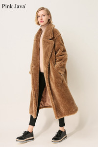 Image 5 - PINK JAVA QC1848 new arrival free shipping real sheep fur coat long style wool coat camel teddy coat over size winter women coat