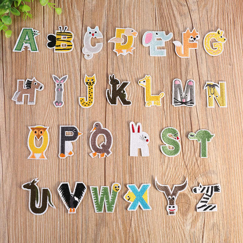 English Alphabet Letter Mixed Embroidered patches Iron On Patch For Clothing Badge Paste For Clothes Bag Pants Sew parches