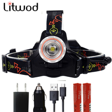 Litwod Z20 brightest LED Headlight headlamp 18650 battery led head flashlight light lamp Micro USB Recharge for hunting camping