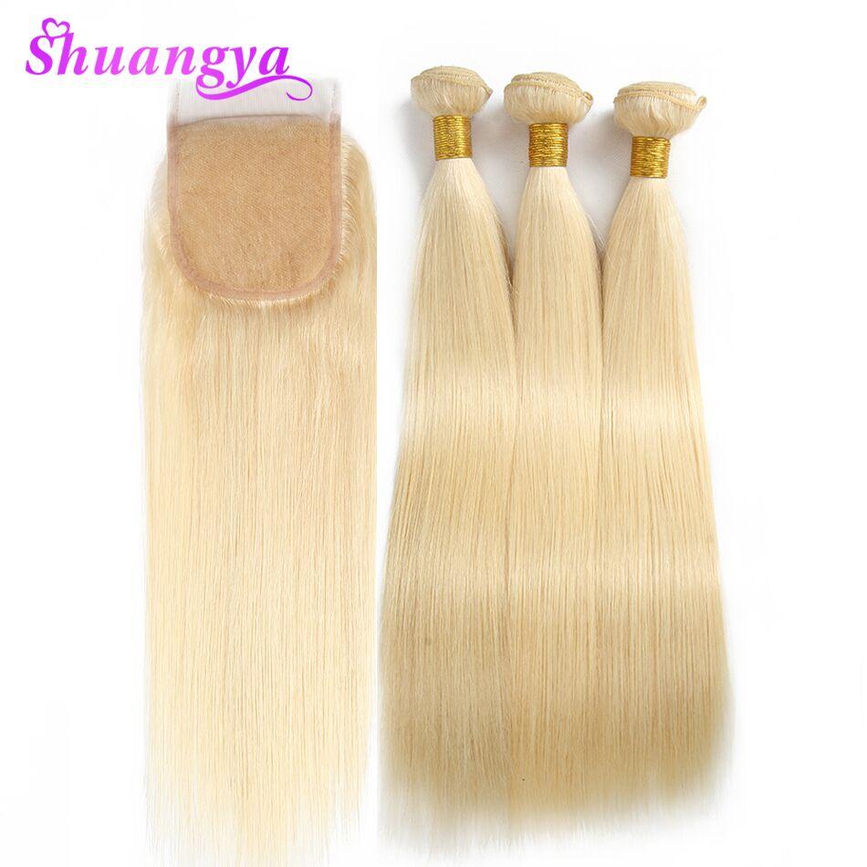 Малайзии прямые волосы Weave 613 блондинка человеческих волос 3/4 Связки с закрытием Shuangya Волосы remy расширение 10 26 дюймов Бесплатная доставка