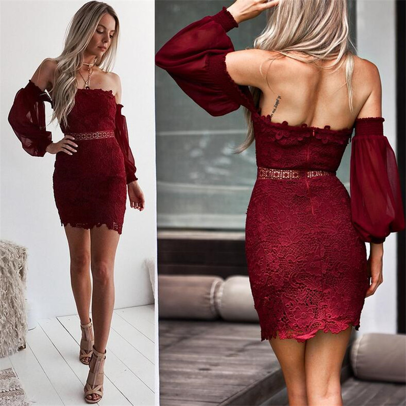Valentine 39 s Day Vintage lantern sleeve lace women dress christmas Off shoulder lining sexy dress winter Elegant party dress in Dresses from Women 39 s Clothing
