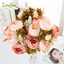 Silk Peony Flower Artificial Flowers Imitation European Fall Vivid Fake Leaf Wedding Bride Bouquet Home Party Decoration