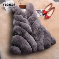 2018 Faux Fur Vest Girls Women Long Faux Fur Coat High Quality High Imitation Silver Fox