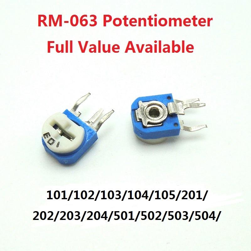 20pc rm063 potenciômetro resistor variável RM-063-101/102/103/104/105/201/202/203/204/501/502/503/504//2/5/10/20/ 100/500/k/r/m