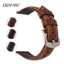 BEAFIRY Genuine Leather Watch Band 18 20mm Dark Brown Light Wine Red Black Grey Oil tanned Natural Crack Straps