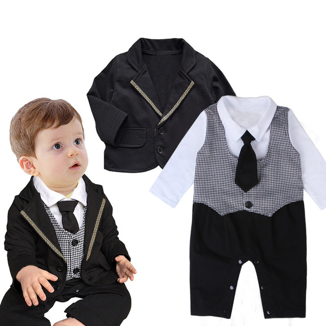 new 2017 boys tie gentleman suit climbing clothes Romper jumpsuit + long sleeved jacket baby costumes