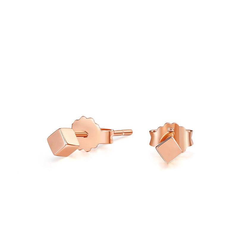 Pure AU750 Rose Gold Earrings Women geometry Stud Earrings 0.88gPure AU750 Rose Gold Earrings Women geometry Stud Earrings 0.88g