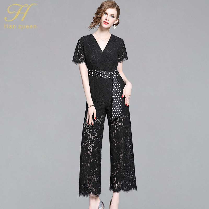 H Han Queen Hollow Out Lace Summer Casual Jumpsuits Women 2019 New Elegant Wide Leg Rompers Solid Color Lace Up Zipper Playsuits(China)