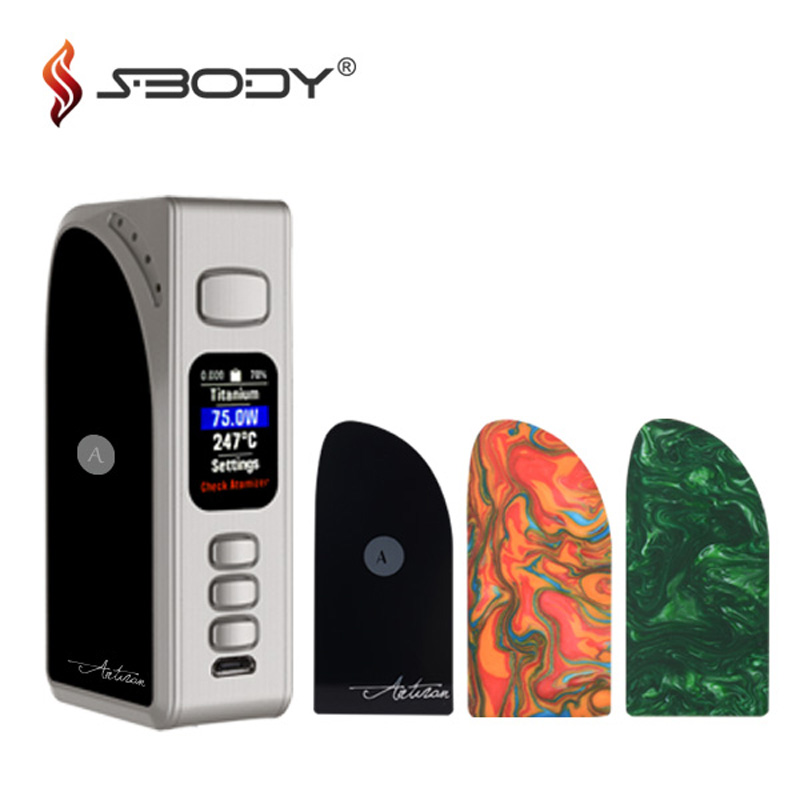 Original Sbody Artisan DNA75 Box Mod Evolv DNA75C Chip Vaporizer Mods Dual 18650 battery 75W Fit RDA RTA Tank Vape Cigarettes