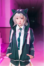 Anime Dangan Ronpa Nanami Chiaki Cosplay Costume Coat Deep Green Cotton Zipper Hoodie Unisex Hooded Sweater