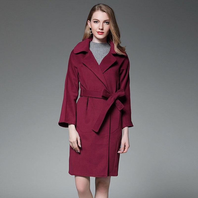 Women Burgundy Black Cashmere Waterfall Coat Winter Woolen Wool Robe Blend Coat Fashion Street Elegant Luxury