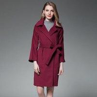 Women Burgundy Black Cashmere Waterfall Coat Winter Woolen Wool Robe Blend Coat Fashion Street Elegant Luxury Overcoat Ladies