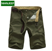 NIANJEEP Brand 2017 New 100 Cotton Men Casual Shorts Summer Multi Pocket Military Style Straight Shorts