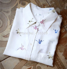 EQ 100% real Paper crane print women long sleeve shirts  lady silk blouses spring autumn